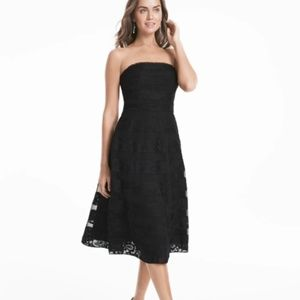 {WHBM} Strapless Black Lace Fit & Flare Dress
